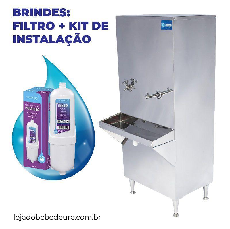 Bebedouro Industrial 50 Litros de Coluna Knox Bebedouros + Kit Instalação e Filtro