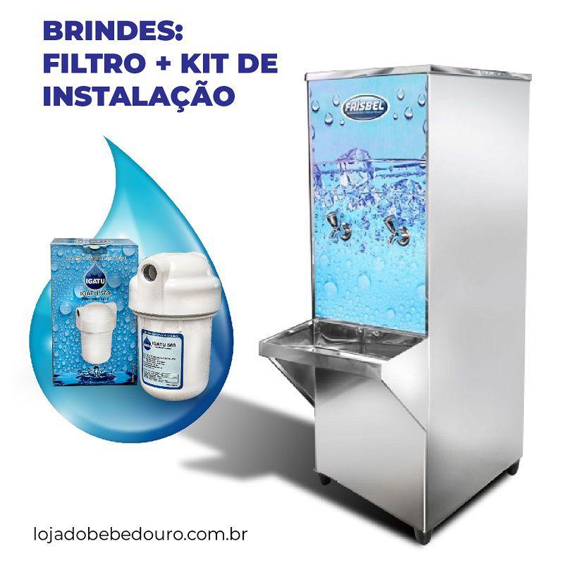 Bebedouro Industrial 50 Litros de Coluna Frisbel Bebedouros + Kit Instalação e Filtro