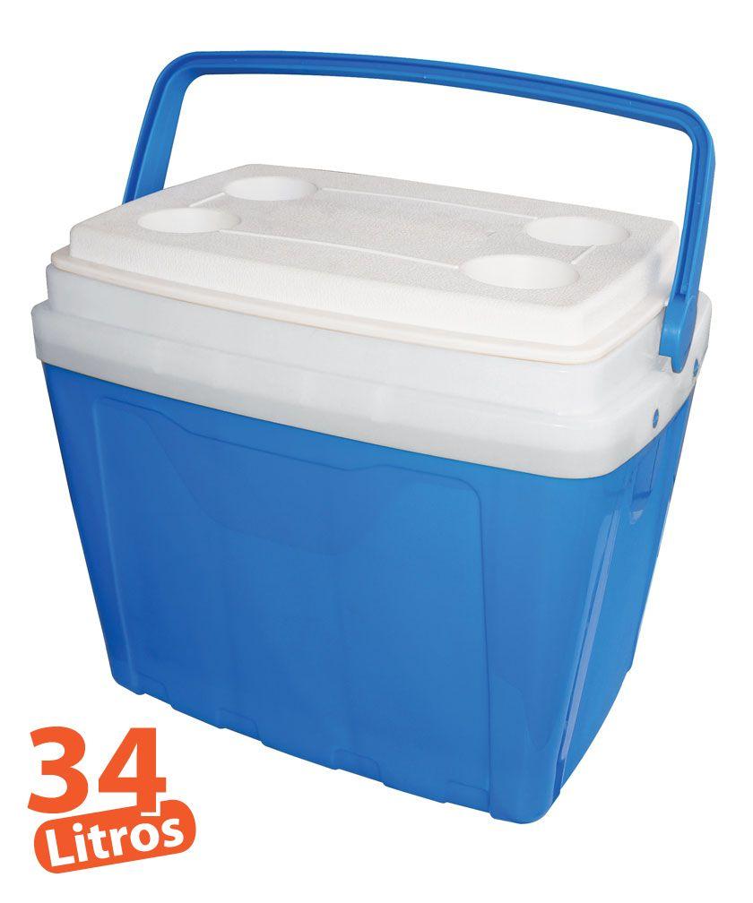 Caixa Térmica 34 Litros Cooler 34l Alça E Porta Copos Antares
