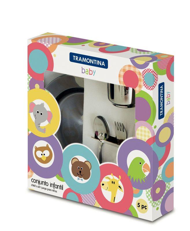 3 Kit Infantil Aço Inox Baby 15 Peças Tramontina - 64250/740