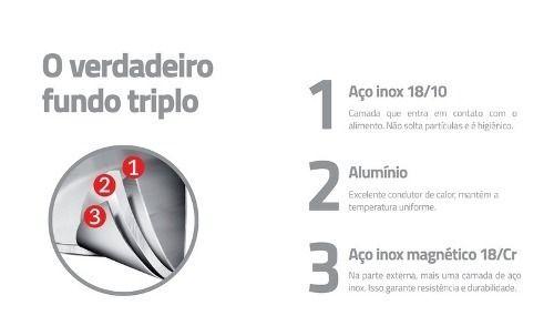 Panela De Pressão Inox 4,5l Fundo Triplo Tramontina Solar 62513/226
