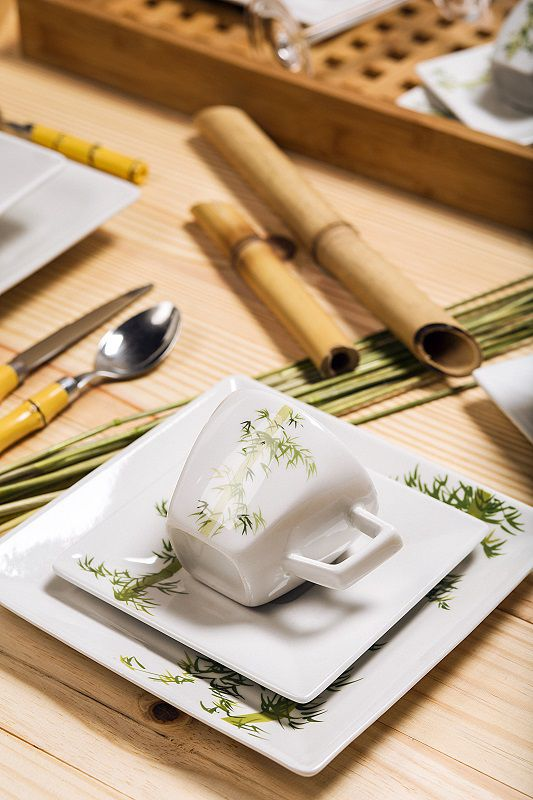 Aparelho de Jantar Chá e Café 42 Pçs Porcelana Quartier Bamboo Oxford