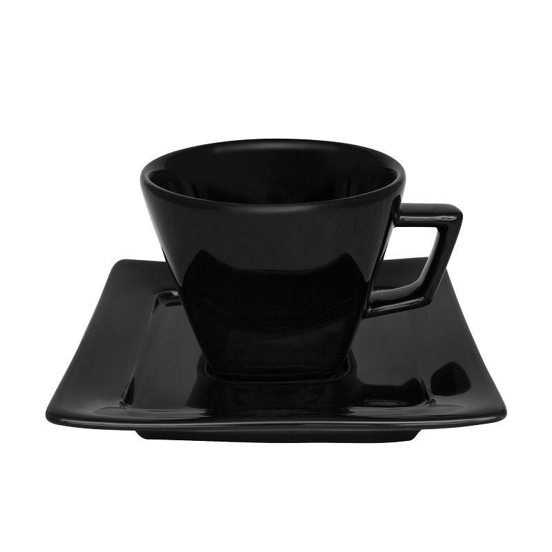 Aparelho de Jantar Chá e Café 42 Pçs Porcelana Nara Black Oxford