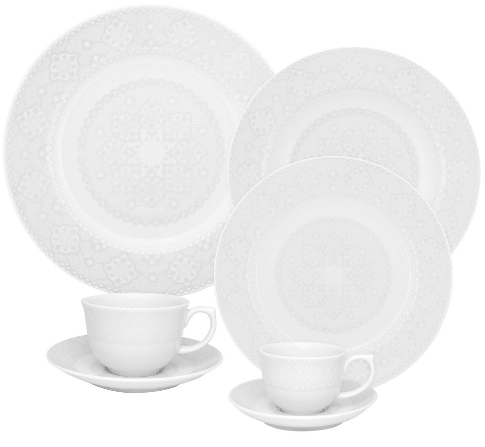 Aparelho de Jantar Chá e Café 42 Peças Porcelana Dress Oxford