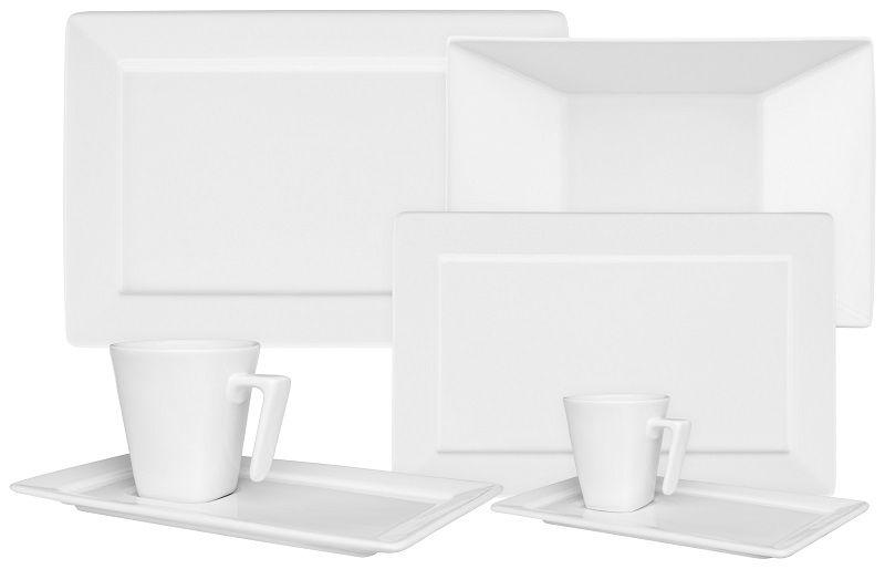 Aparelho de Jantar Chá e Café 42 Pçs Porcelana Plateau White Oxford
