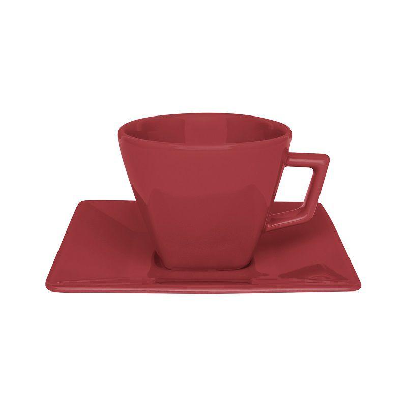 Aparelho de Jantar Chá e Café 42 Pçs Porcelana Quartier Red Oxford