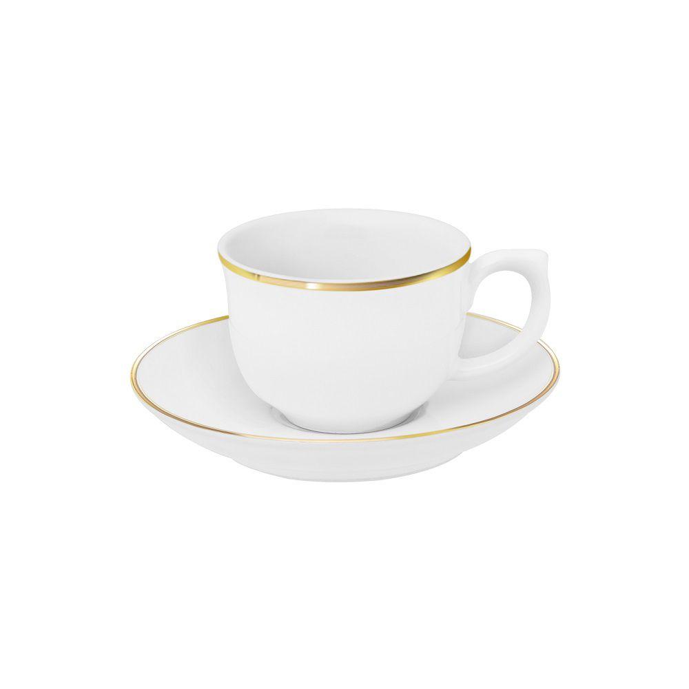 Aparelho de Jantar Chá e Café Porcelana 42 Pçs Sofia Filete Ouro Oxford