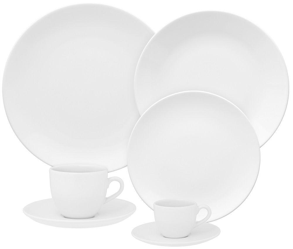 Aparelho de Jantar Chá e Café 42 Pçs Porcelana Coup White Oxford