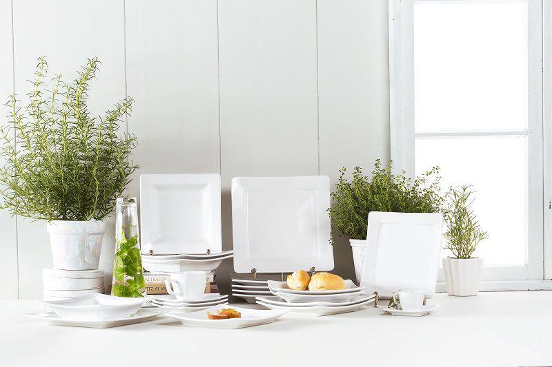 Aparelho de Jantar e Chá 20 Peças Porcelana Nara White Oxford