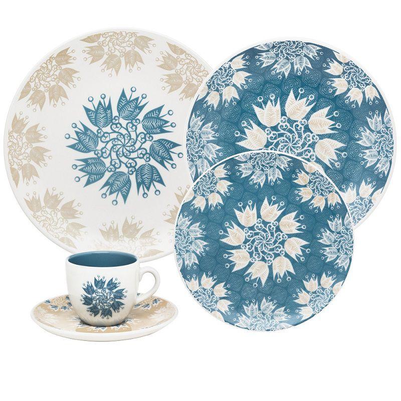 Aparelho de Jantar e Chá 30 Peças Porcelana Coup Etnia Oxford