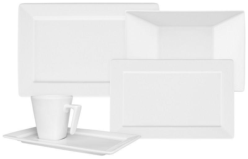 Aparelho de Jantar e Chá 30 Peças Porcelana Plateau White Oxford