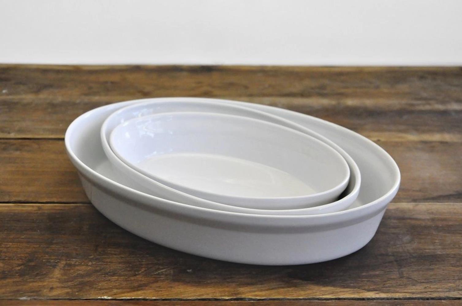 Assadeira Oval Cerâmica 33cm 2,5L Branco Mondoceram Gourmet