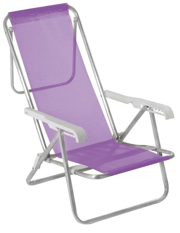 Cadeira Reclinável 8 Posições Alumínio Lilás - MOR 002293