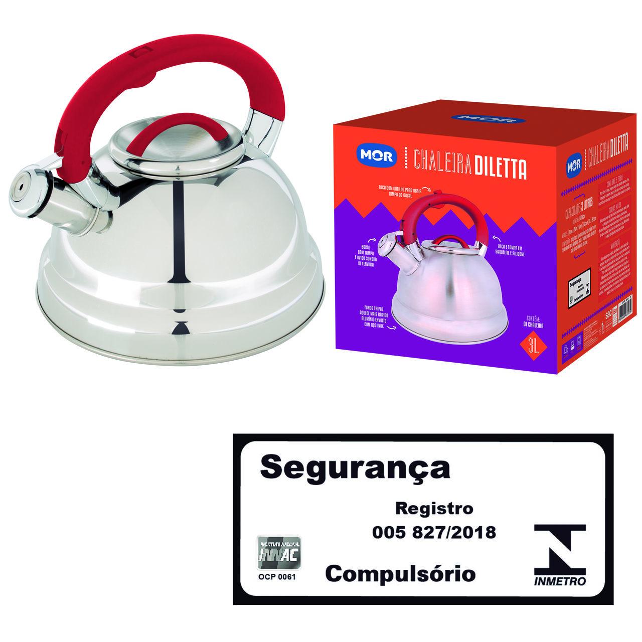 Chaleira De Aço Inox 3L Fundo Triplo Diletta Vermelha - MOR 7707