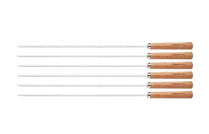 Conjunto De Espetinhos Aço Inox 60cm 6 Peças Tramontina - 26499/012