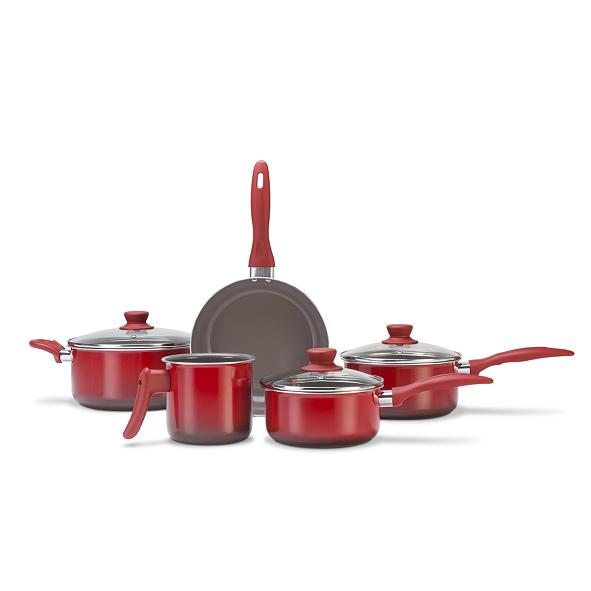 Conjunto de Panelas Ceramic Life Smart 5 peças  Vermelho Brinox - 4789/100
