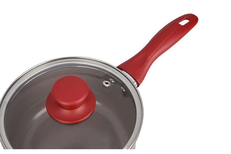 Conjunto de Panelas 5 Peças Cerâmica Life Smart Vermelho Brinox 4789/100