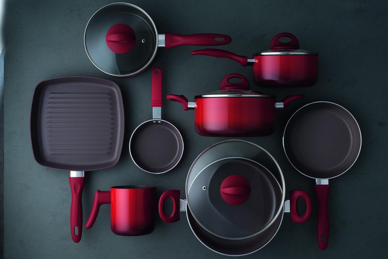 Conjunto de Panelas 8 Peças Cerâmica Life Smart Plus Vermelho Brinox 4791/104