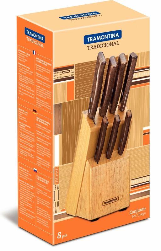 Conjunto Facas Inox 8 Peças Tradicional Tramontina Cabo Madeira 22299/026