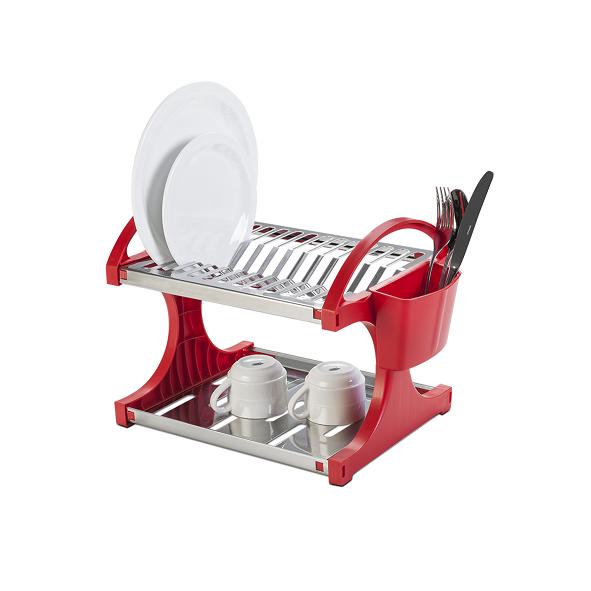 Escorredor De Louça Aço Inox Para 12 Pratos Suprema Vermelho Brinox - 2104/250