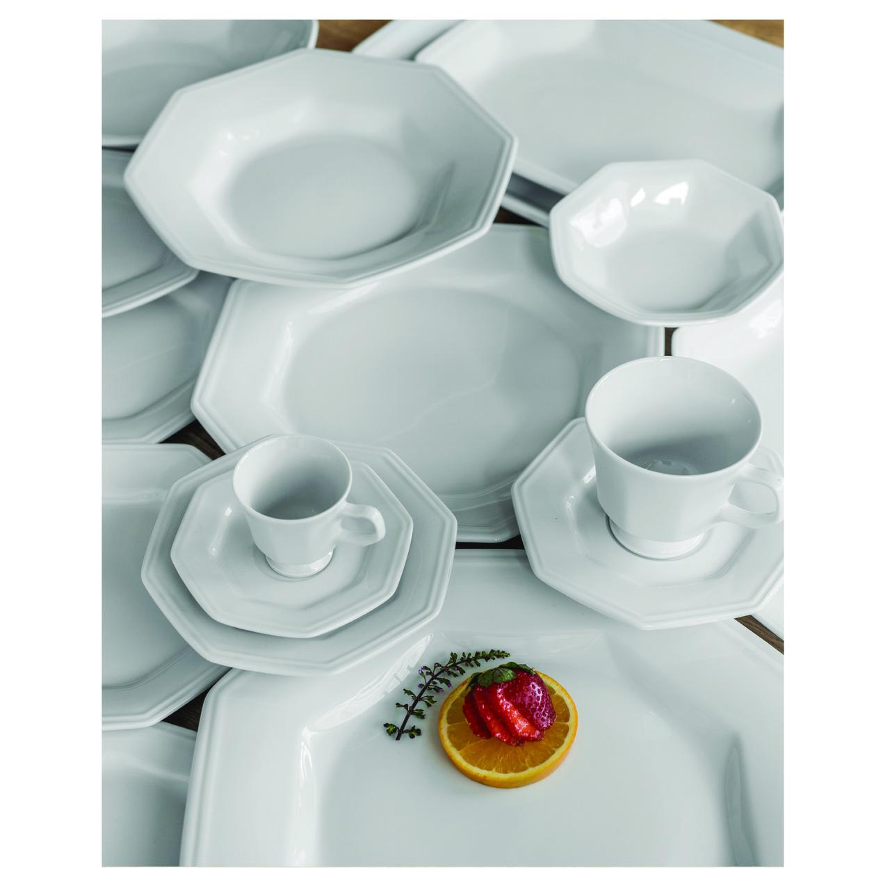 Estojo com 12 Xícaras Café com Pires Prisma Porcelana Branca Schmidt