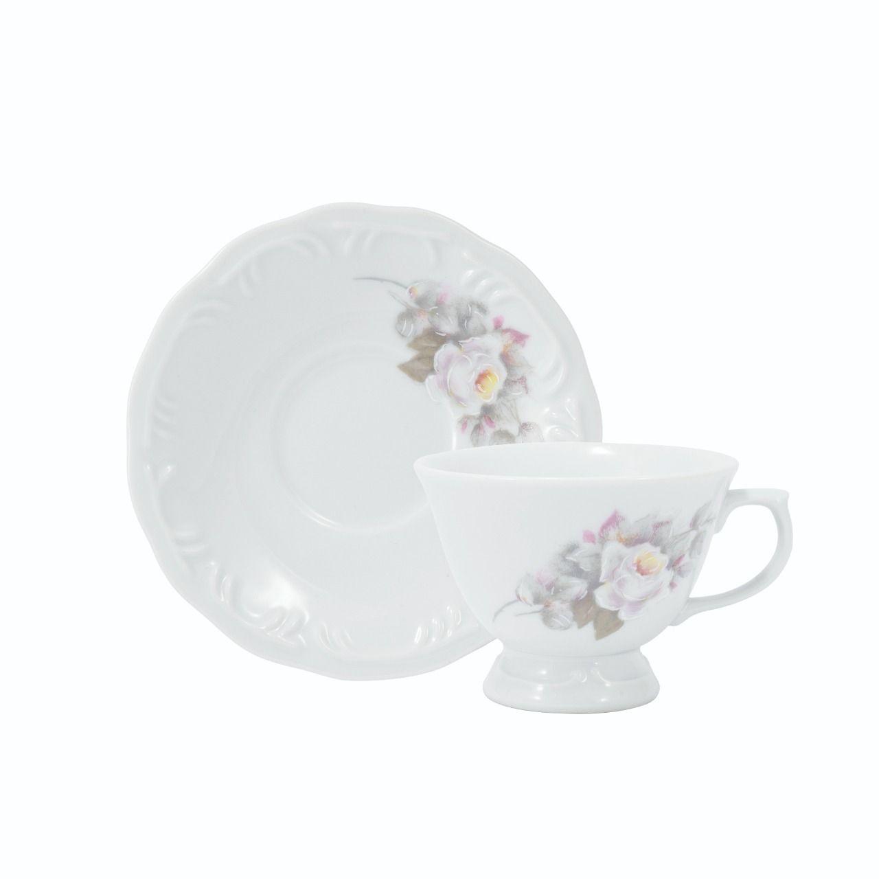Estojo Com 6 Xicaras Chá Com Pires Em Porcelana - Eterna Schmidt