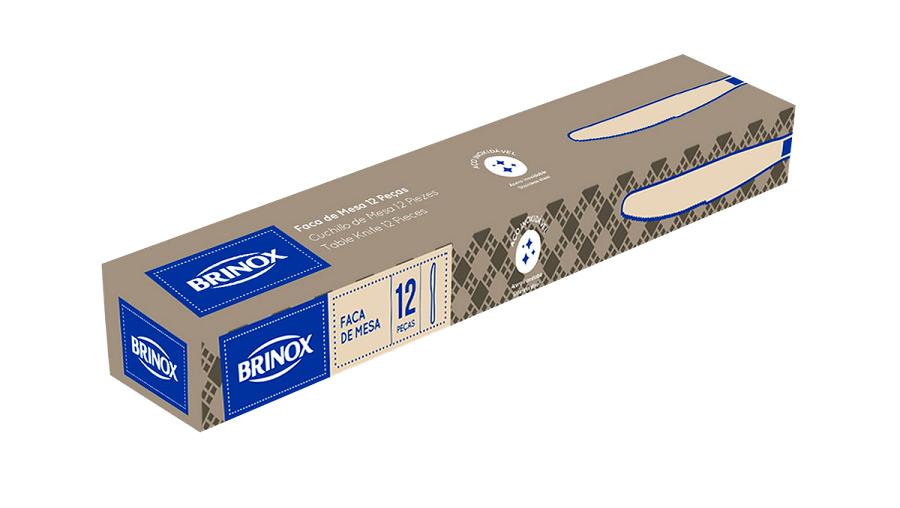 Faca De Sobremesa Aço Inox 12 Peças Turim Brinox - 5110/106