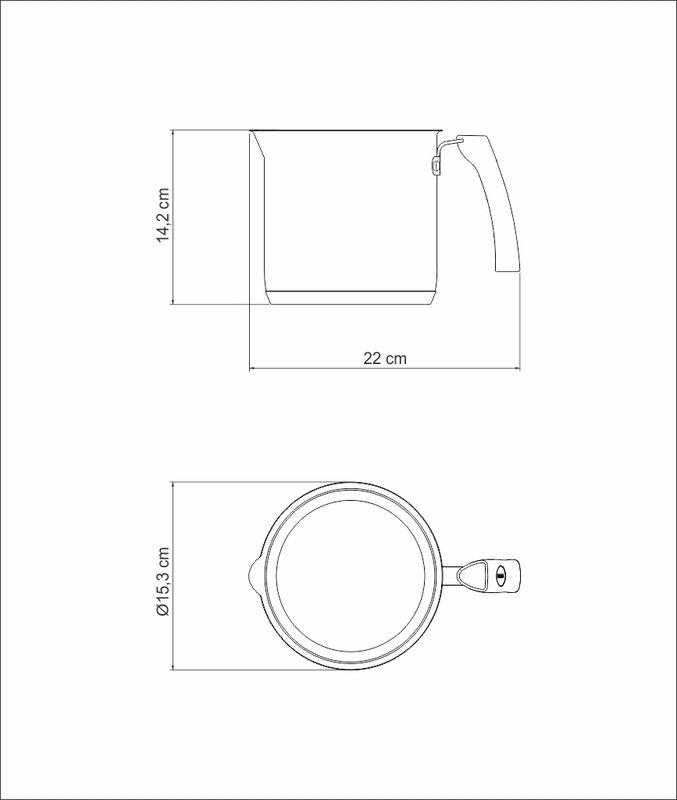 Fervedor Inox Fundo Triplo Interior Cerâmica 14cm 2L Solar Ceramic Tramontina - 62132/146