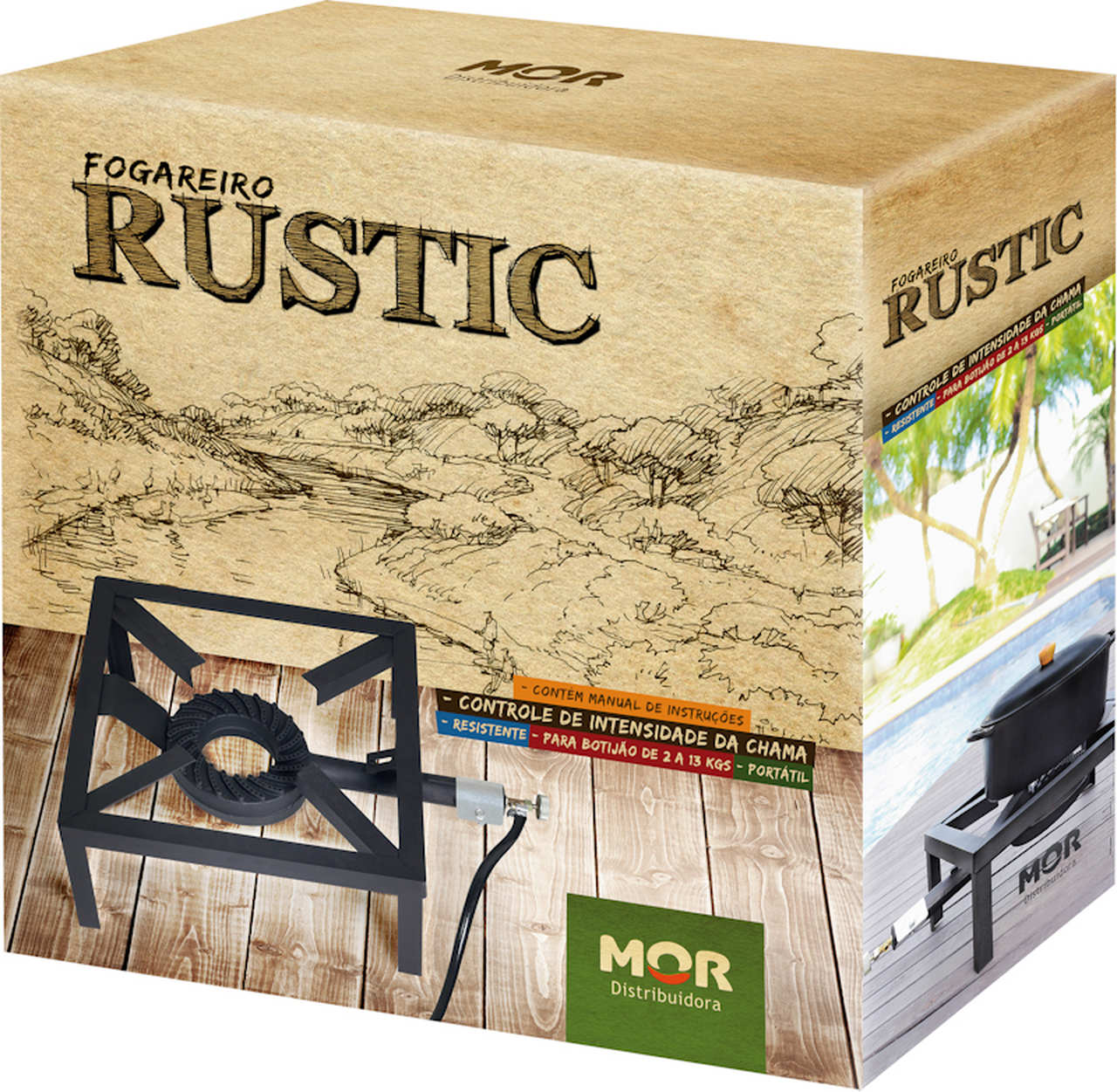 Fogareiro de Aço Rustic 55cm x 40cm MOR - 009098