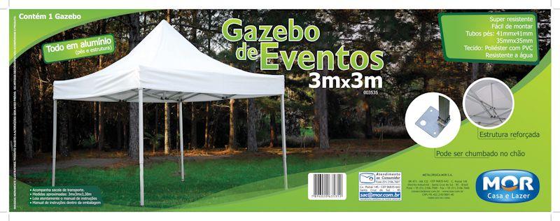 Gazebo Para Eventos 3,00 X 3,00M Branco - MOR 3535