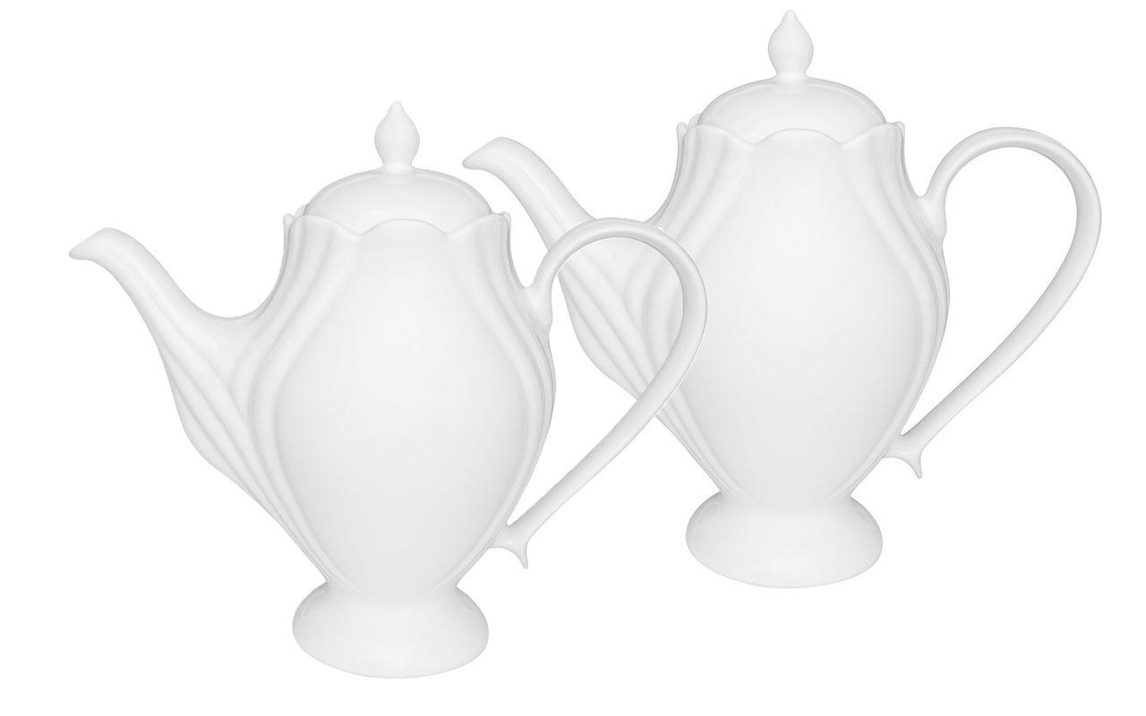 Jogo Com 2 Bules 1,2 Litros Porcelana Soleil White Oxford