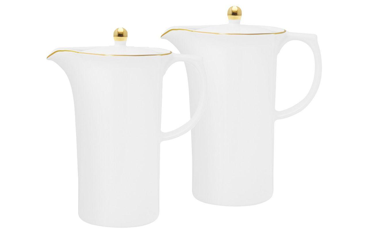 Jogo Com 2 Bules Porcelana 1,2 Litros Sofia Filete Ouro Oxford