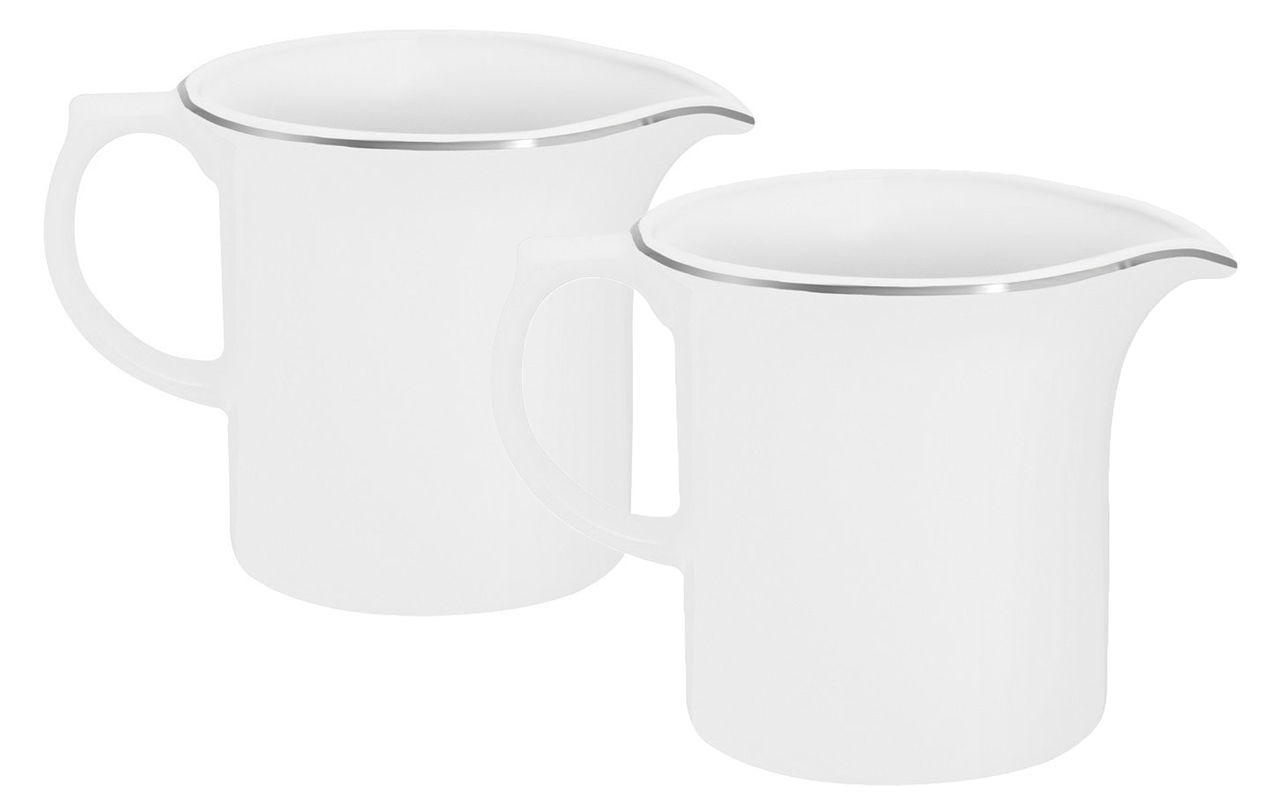 Jogo Com 2 Leiteiras Porcelana 600ml Isabel Filete Prata Oxford