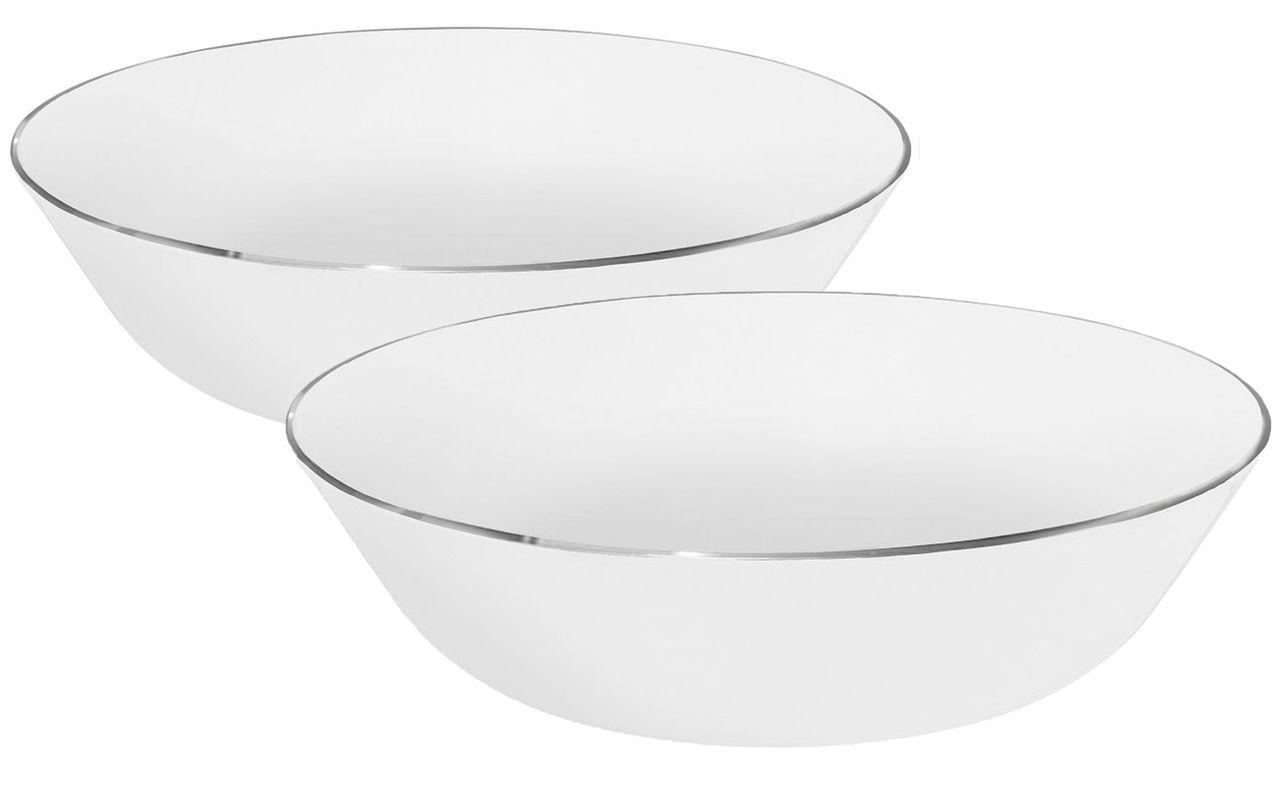 Jogo Com 2 Saladeiras 20cm Porcelana Isabel Filete Prata Oxford