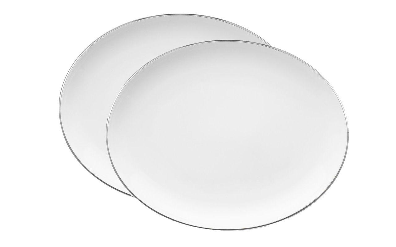 Jogo Com 2 Travessas 31cm Porcelana Isabel Filete Prata Oxford