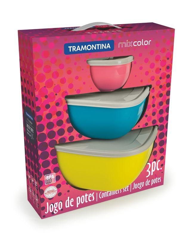 Jogo De Potes 3 Peças Mixcolor Tramontina - 25099/953