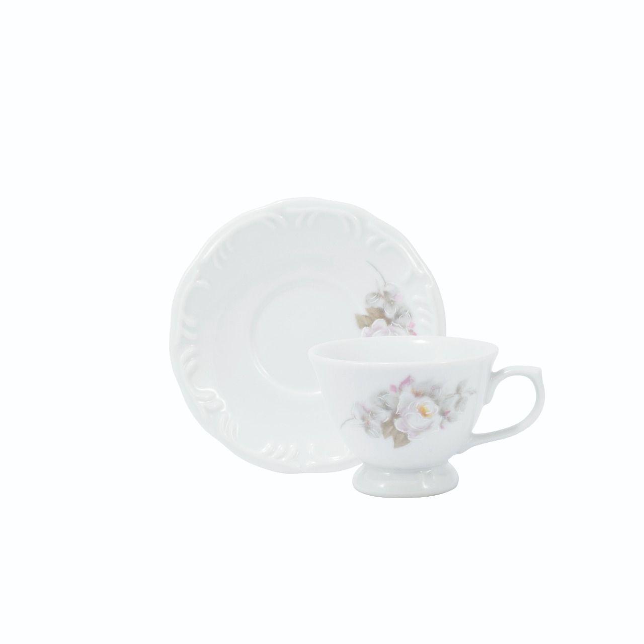 Jogo De Xícara Café Com Pires 6 Peças Porcelana Schmidt - Eterna