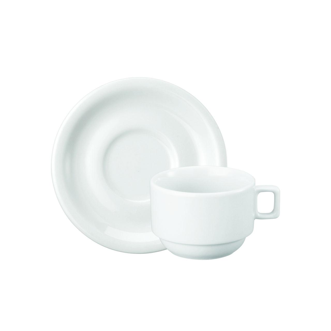 Jogo De Xícara Chá com Pires Protel 12 Peças Porcelana Branca Schmidt