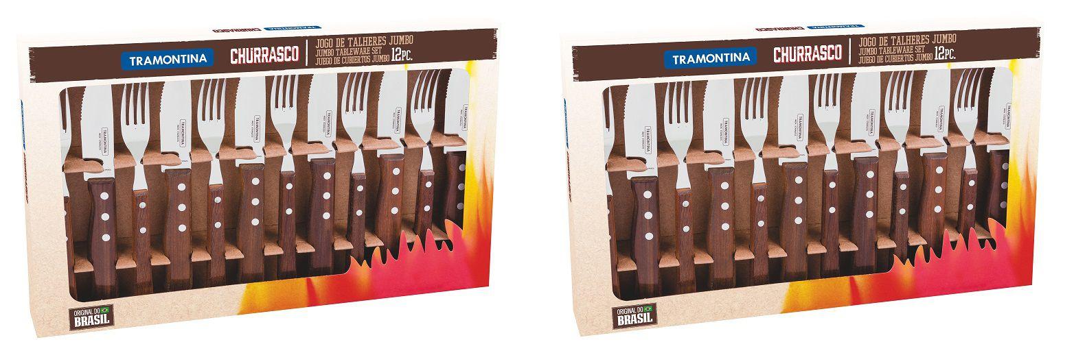 Kit Churrasco 24 Peças Jumbo Tramontina Garfo Faca 22299/059