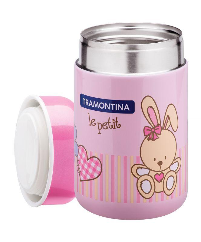 Kit Infantil Baby Tramontina Para Refeição Inox e Pote Térmico Rosa 6 Peças