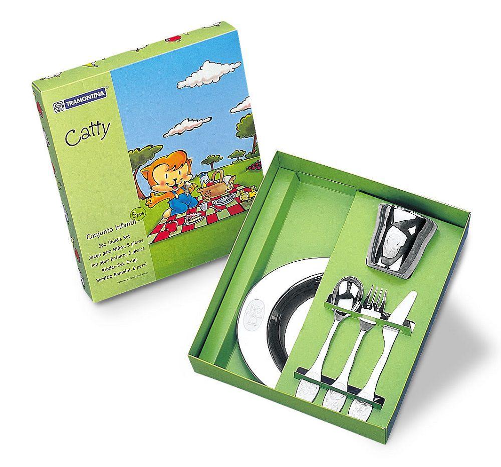 Kit Infantil Catty Para Refeição 5 Peças Aço Inox Tramontina - 64250/940
