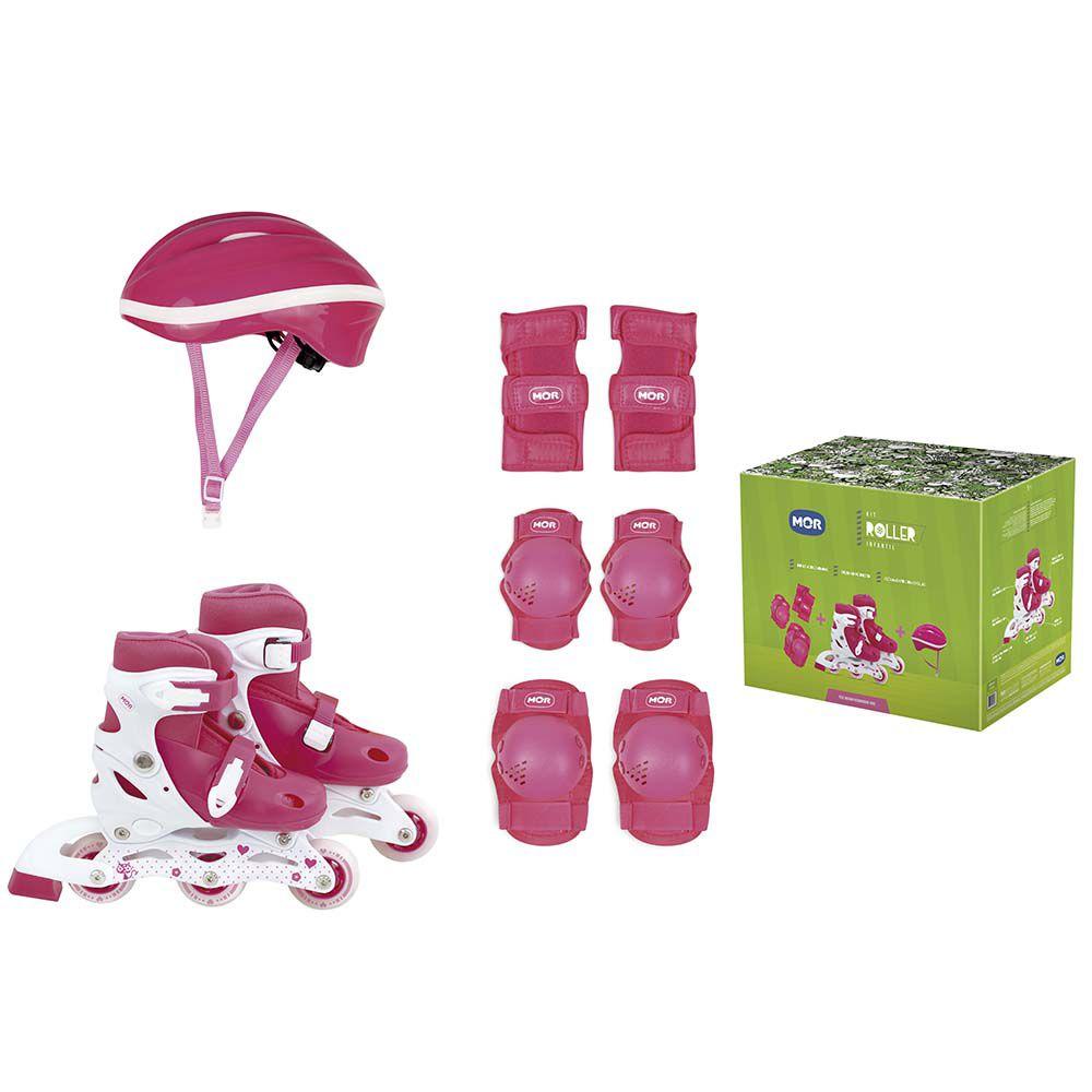 Kit Roller Rosa Tamanho P 30-33 Roller, Joelheira e Capacete - MOR 40600101
