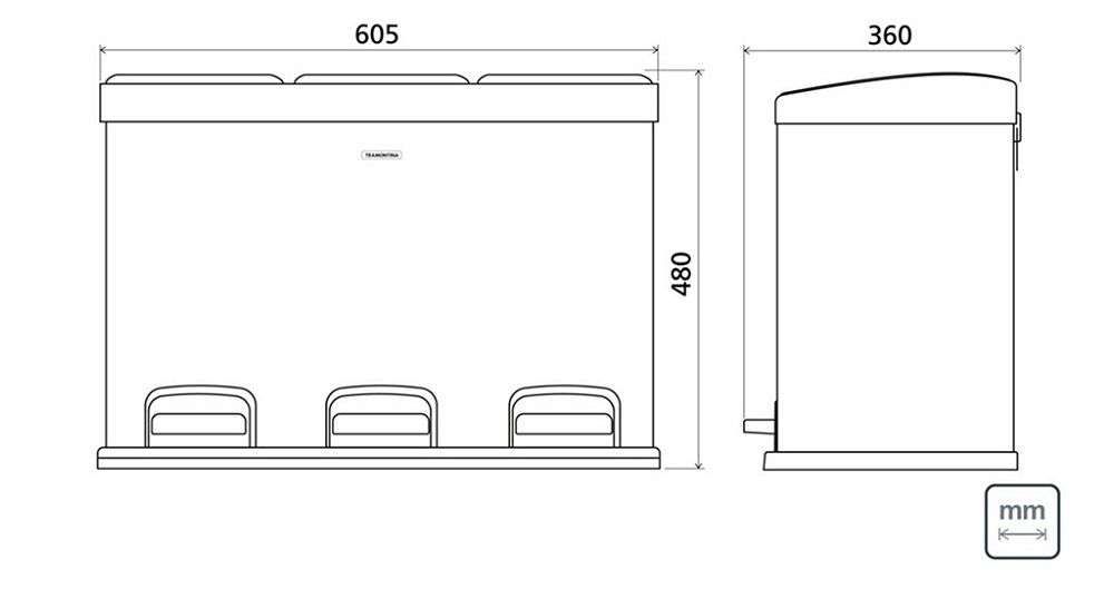 Lixeira Inox Com Pedal Retangular Tripla 3x15L Tramontina 94538/245