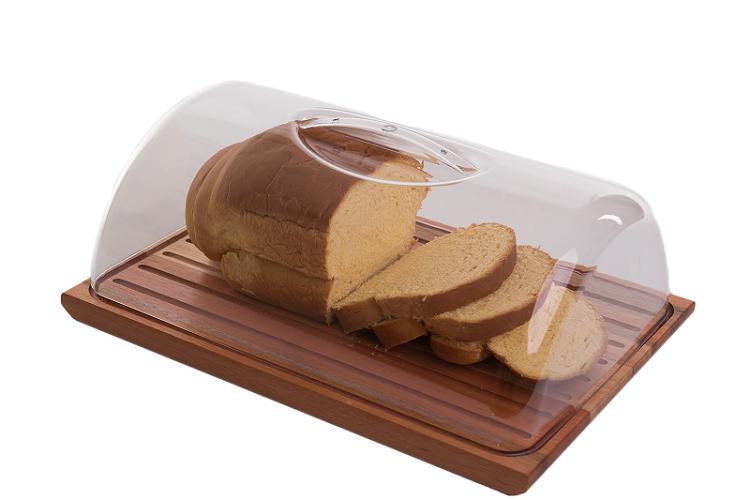 Migalheira Porta Pão De Madeira e Acrílico Essence Domama