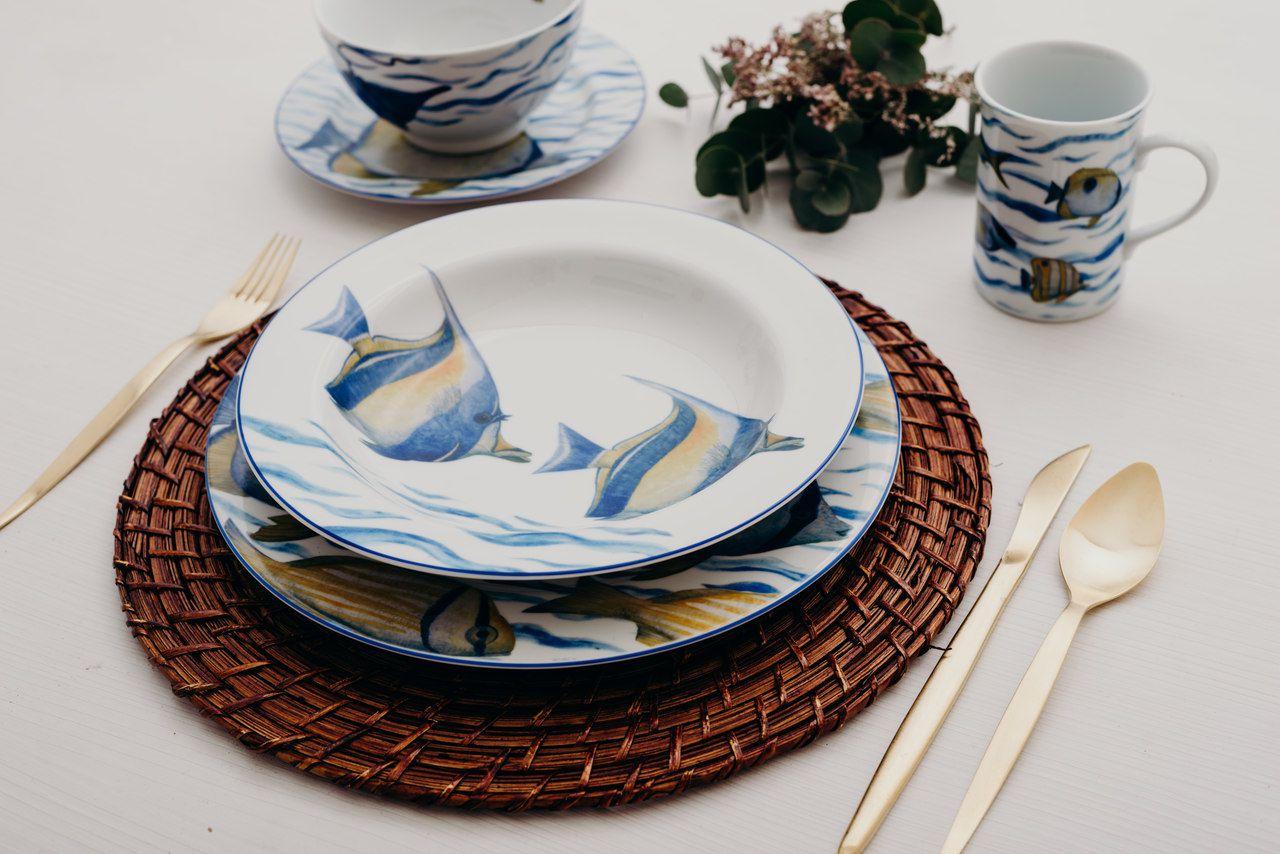 Aparelho De Jantar E Chá Em Porcelana 30 Peças Oceanos Schmidt