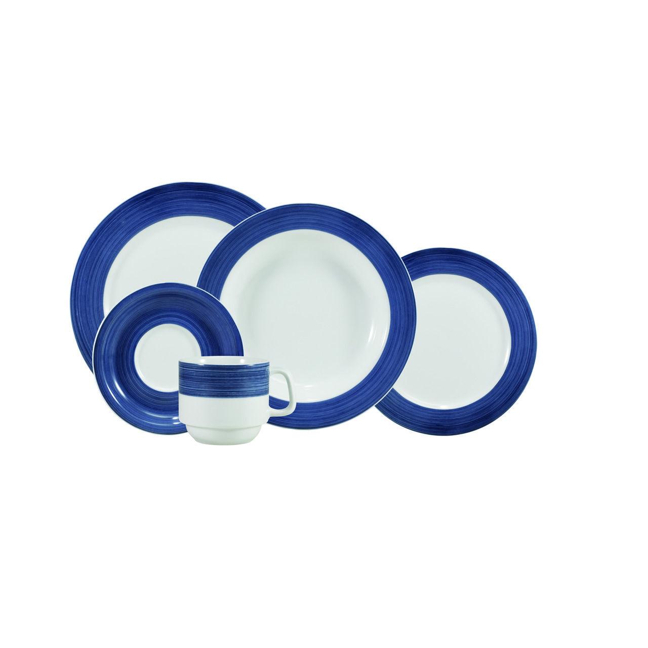 Serviço De Jantar E Chá Em Porcelana Com 20 Peças - Cilíndrica Pintura à Mão Azul Saturno Schmidt