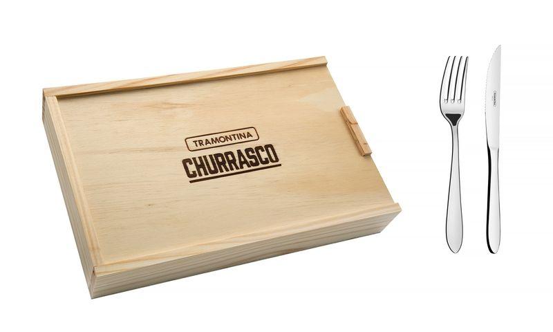 Talher Aço Inox Para Churrasco 8 Peças Satri C/ Estojo Tramontina - 66982/614