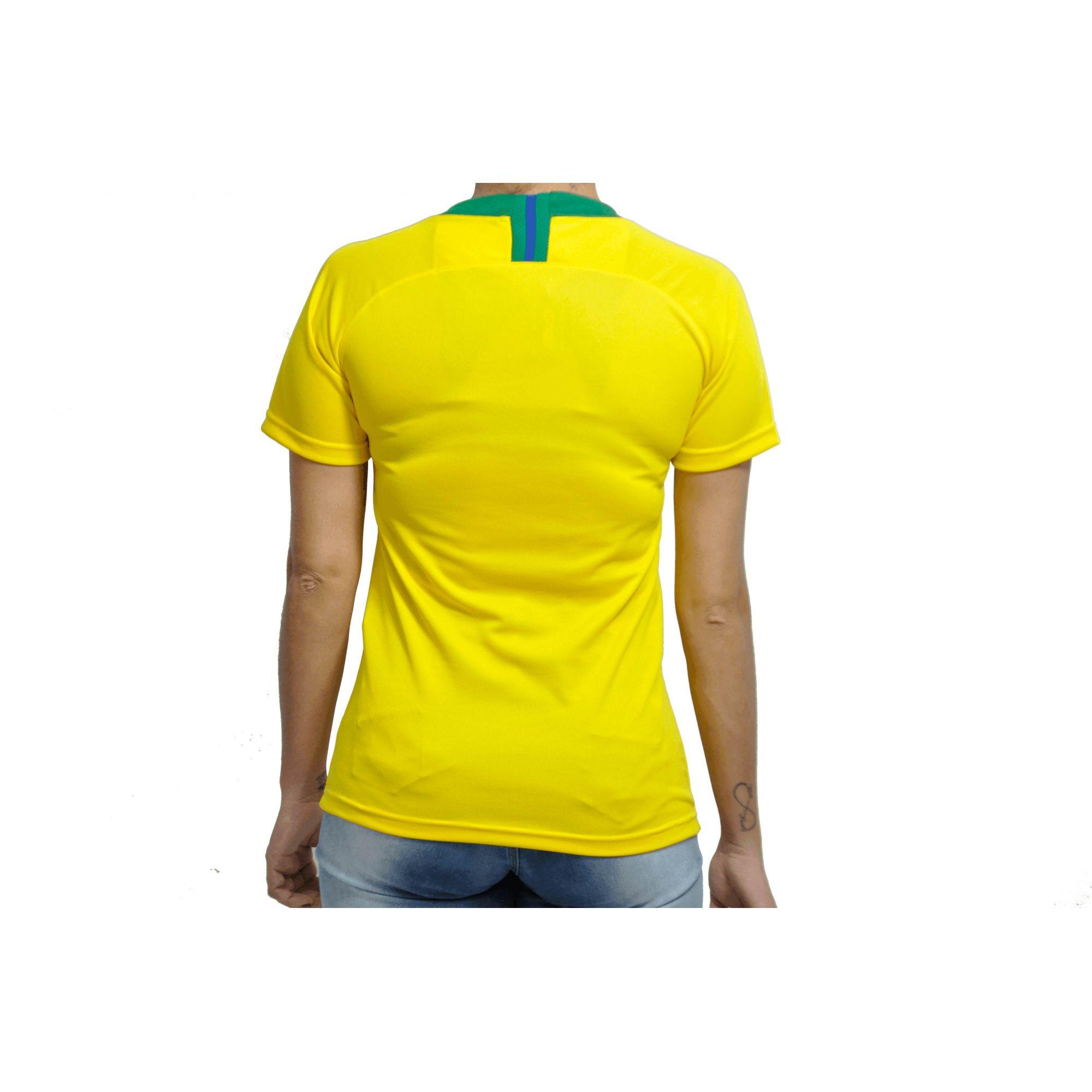 4fcfdff935 Camisa Brasil Seleção Brasileira 2018 Baby Look - Feminino - BRACIA ...