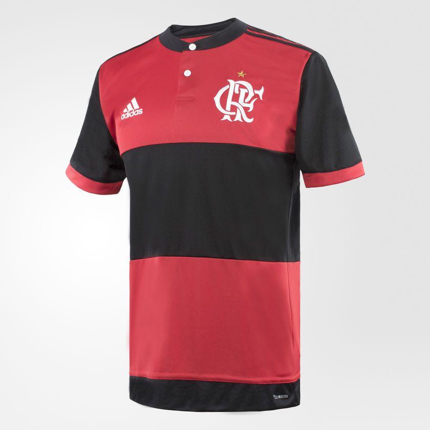 Camiseta Flamengo Masculino Adidas 1 Listrada Vermelha e Preta ... 782c3ddb3474f