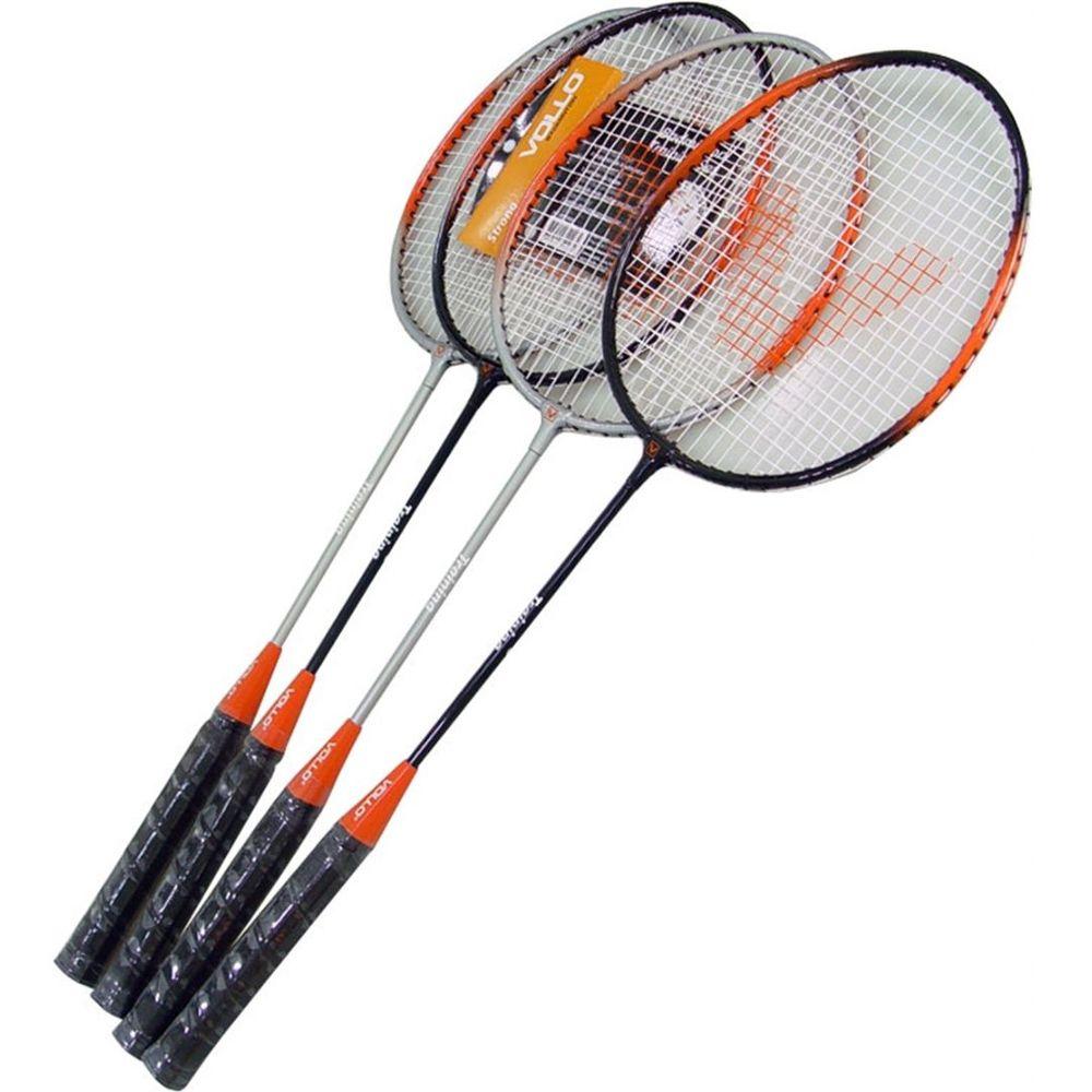 Kit Badminton Raquete Vollo Vb004 Badminton 4 Raquete 3 Petecas Rede bolsa